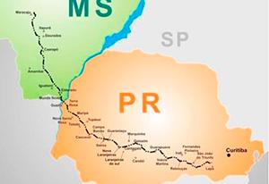 Figura Ilustrativa do traçado da estrada Curitiba-Mato Grosso (Caminho dos Tropeiros)