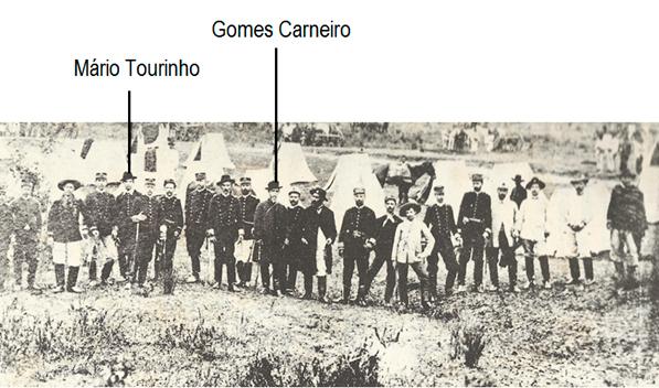 2° Tenente Mário Tourinho sob o comando do Coronel Gomes Carneiro, no cerco da Lapa, em 1894.