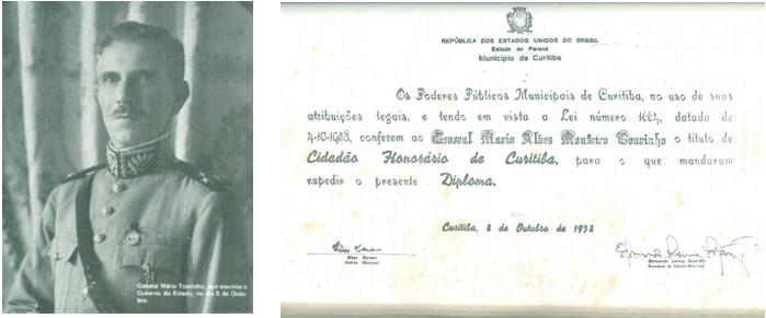 Interventor do Paraná em 1930, General Mário Tourinho, foi diplomado cidadão honorário de Curitiba em outubro de 1958.