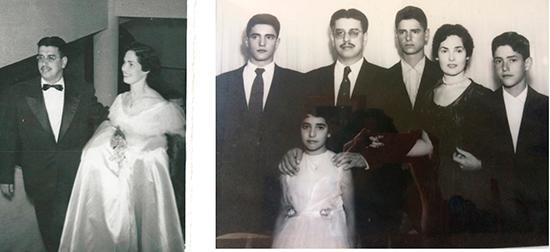 - Foto da esquerda: festa de formatura do curso de Engenharia Civil com Sylvia. - Foto da direita: esposa Sylvia e os 4 filhos (Luiz Fernando, Luiz Carlos, Plínio e Lúcia Helena).