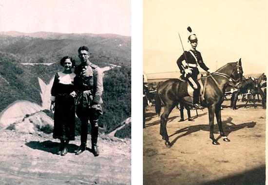 Luiz Carlos Pereira Tourinho com a esposa Sylvia, ao ser nomeado comandante da 1ª Companhia e Chefe da 1ª Residência de Construção acantonada em Tapera (represa de Vossoroca) à margem do rio São João (1938).
